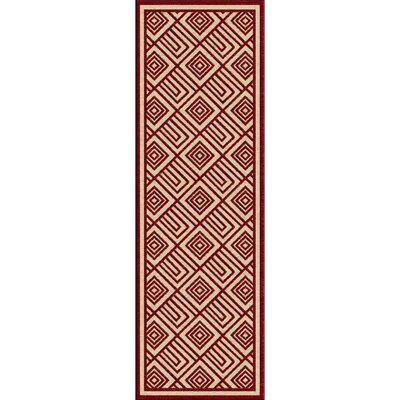 Vassar Dark Red/Khaki Indoor/Outdoor Area Rug Rug size: Square 76