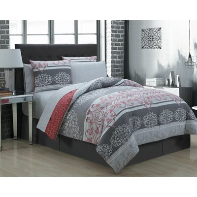 Roosevelt 8 Piece Reversible Bed in a Bag Set Size: Queen, Color: Black/White