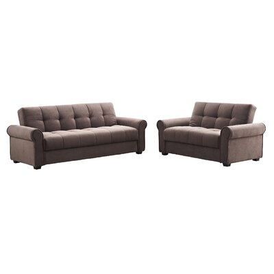 Rubin Click Clack Sofa and Loveseat Set Color: Dark Brown