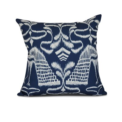 Selina Crown Outdoor Throw Pillow Size: 16 H x 16 W x 3 D, Color: Blue