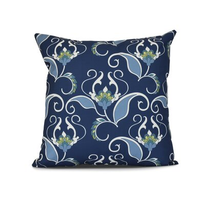 Harmen Floral Print Outdoor Throw Pillow Size: 16 H x 16 W x 3 D, Color: Blue