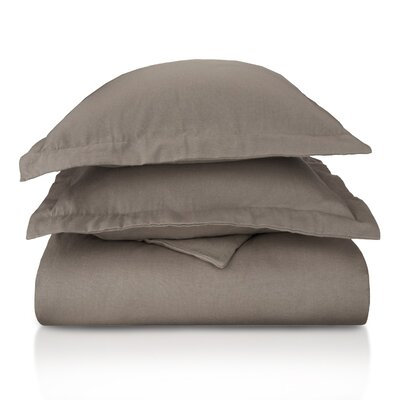 Pantoja Paisley and Solid Flannel Cotton Duvet Set Size: Full/Queen, Color: Grey Solid