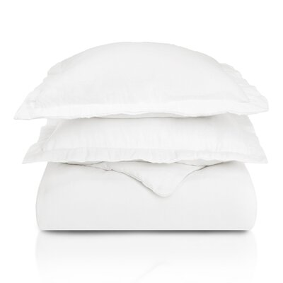 Pantoja Paisley and Solid Flannel Cotton Duvet Set Size: Twin, Color: White Solid