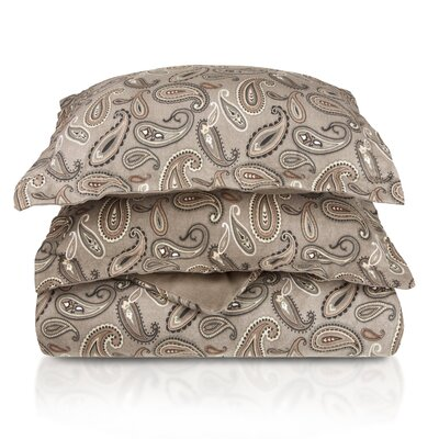 Pantoja Paisley and Solid Flannel Cotton Duvet Set Size: Full/Queen, Color: Grey Paisley