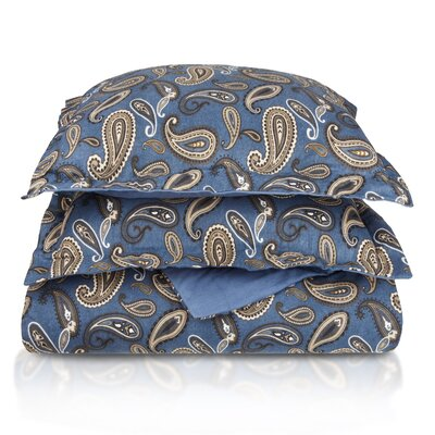 Paisley and Solid Flannel Cotton Duvet Cover Set Color: Navy Paisley, Size: Twin