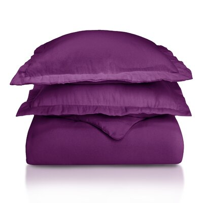 Pantoja Paisley and Solid Flannel Cotton Duvet Set Color: Purple Solid, Size: Twin