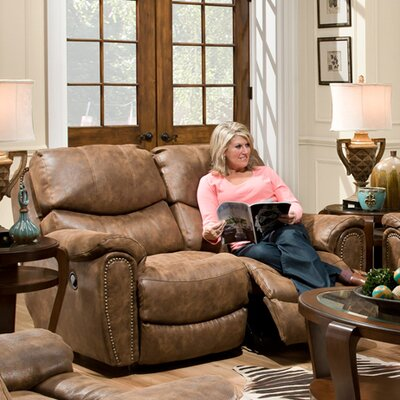 Carolina Power Motion Leather Reclining Loveseat Upholstery: Walnut