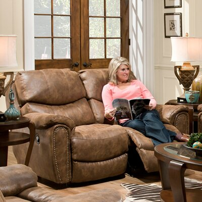 Carolina Motion Microfiber Reclining Loveseat Upholstery Color: Fabric - Walnut