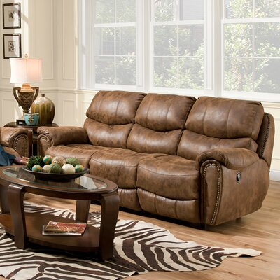 Carolina Leather Reclining Sofa Upholstery Color: Fabric - Walnut