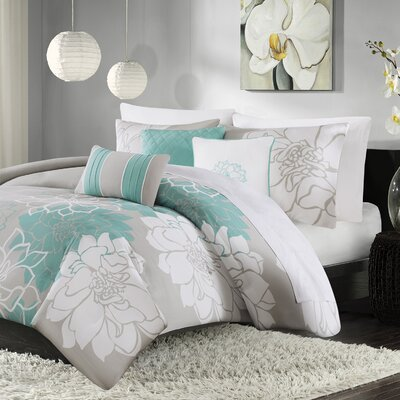 Broadwell 6 Piece Print Reversible Duvet Cover Set Size: Full / Queen, Color: Aqua