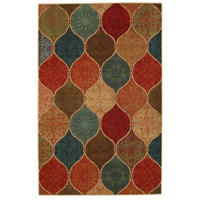 Waukegan Riza Tile Fret Brown/Blue Area Rug Rug Size: 5 x 7