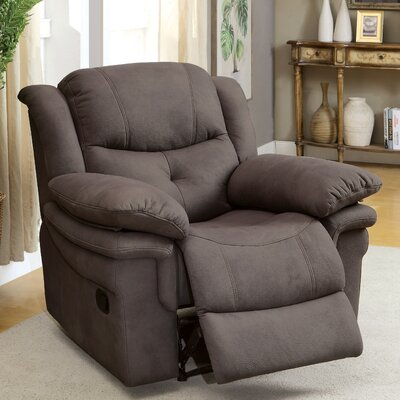 Viola Leather Manual Recliner Upholstery: Ash Brown