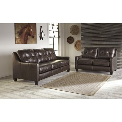 Stouffer Genuine Leather Mahogany Sofa