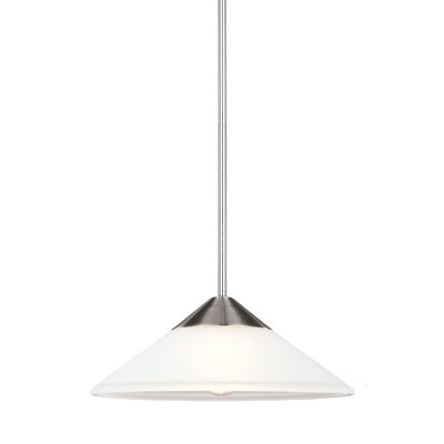 Isidore 1-Light Mini Pendant Finish: Brushed Nickel, Bulb Type: Fluorescent