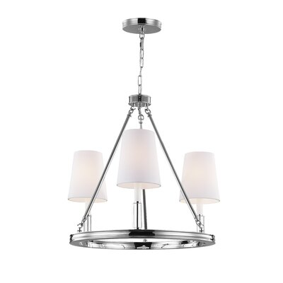 Holbrook 3-Light Shaded Chandelier Finish: Polished Nickel with White Shades