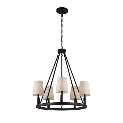 Holbrook 5-Light Shaded Chandelier Finish: Polished Nickel with White Shades