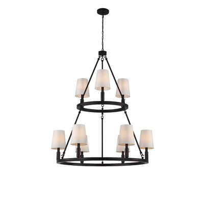Holbrook 9-Light Shaded Chandelier Finish: Oil Rubbed Bronze with Ivory Shades