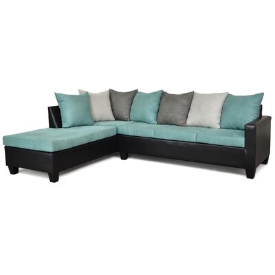 Rossa Sectional Upholstery: Aqua/Black