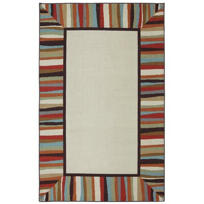 Albany Patio Border Rainbow Outdoor Machine Woven Area Rug Rug Size: 5 x 8