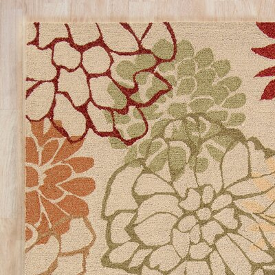 Aldford Beige/Orange Hand-Hooked Indoor/Outdoor Area Rug Rug Size: 4 x 6