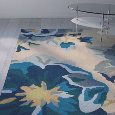 Alfort Hand-Hooked Cobalt Indoor/Outdoor Area Rug Rug Size: 5 x 8