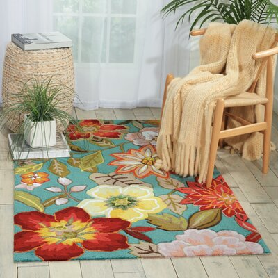Allard Hand-Hooked Aqua Area Rug Rug Size: Rectangle 36 x 56