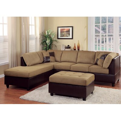 Brookdale Reversible Sectional Upholstery : Brown