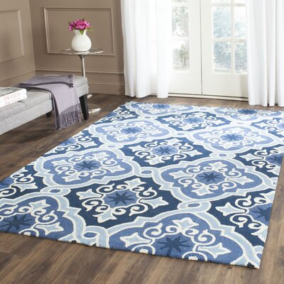 Blocher Hand-Hooked Navy/Blue Indoor/Outdoor Area Rug Rug Size: Rectangle 36 x 56