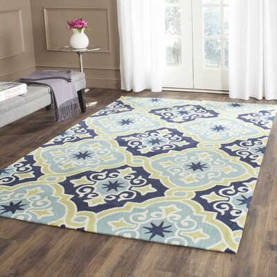 Black Swamp Hand-Hooked Navy/Light Blue Indoor/Outdoor Area Rug Rug Size: Rectangle 5 x 8