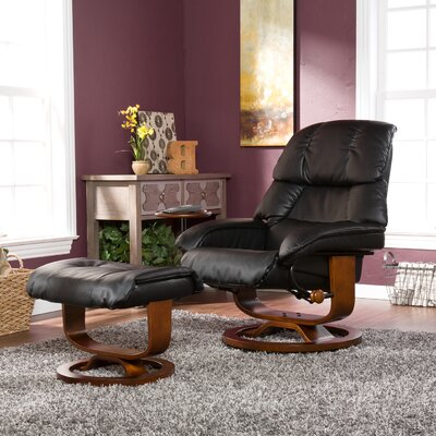 Broken Tooth Standard Manual Swivel Recliner with Ottoman Upholstery: Black