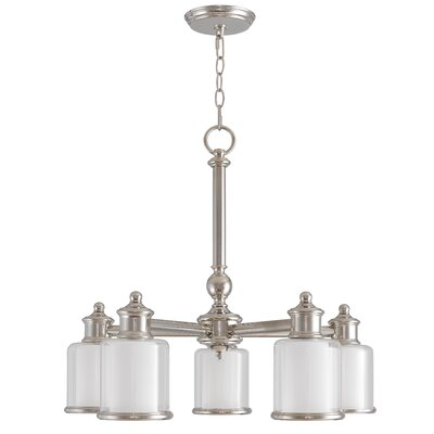Lisle 5-Light Shaded Chandelier Finish: Polished Nickel