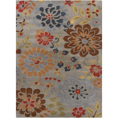 Jonas Grey Floral Area Rug Rug Size: 5' x 7'