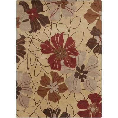 Jonas Floral Beige/Red Area Rug Rug Size: 7 x 10