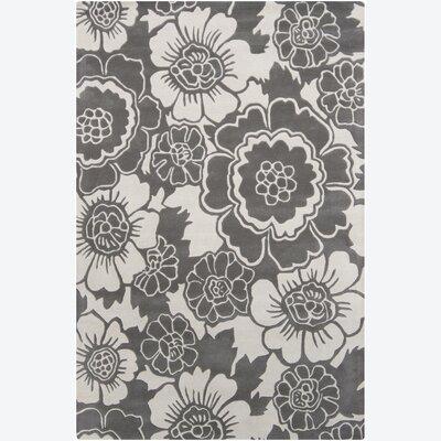 Locke Grey Floral Area Rug Rug Size: 5 x 76
