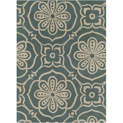 Willow Hand Tufted Wool Cream/Blue Area Rug Rug Size: 5 x 76
