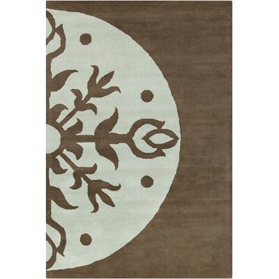 Willow Hand Tufted Wool Dark Brown/Sky Blue Area Rug Rug Size: 8 x 10