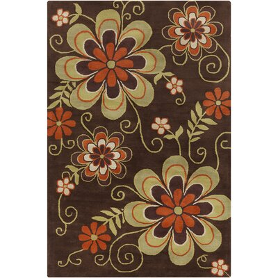 Willow Hand Tufted Wool Dark Brown/Green Area Rug Rug Size: 5 x 76