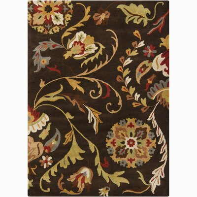 Jonas Black/Tan Flower Area Rug Rug Size: Rectangle 7 x 10