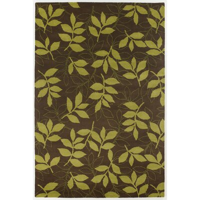 Medford Lime/Brown Leaves Area Rug Rug Size: 5 x 76