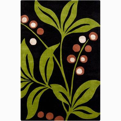 Medford Dark Green/Lime Floral Area Rug Rug Size: 8 x 11
