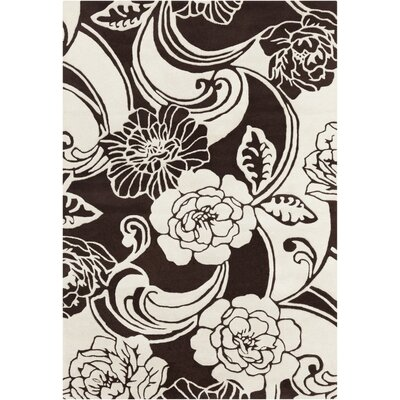 Medford Floral Black/White Area Rug Rug Size: Rectangle 5 x 7