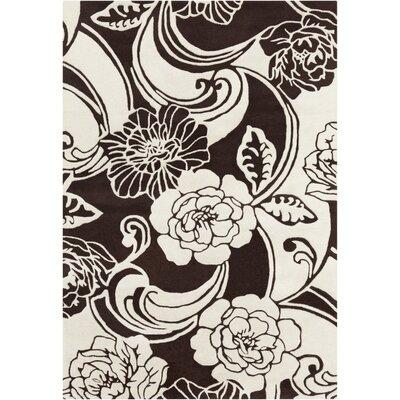 Medford Floral Black/White Area Rug Rug Size: 5 x 7