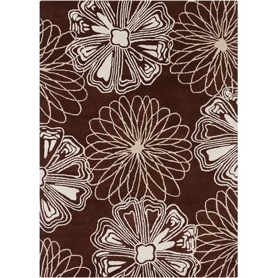 Landau Brown / White Abstract Rug Rug Size: 7 x 10