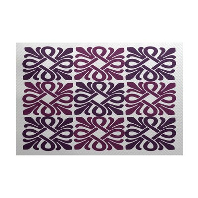 Selina Purple/White Indoor/Outdoor Area Rug Rug Size: 4 x 6
