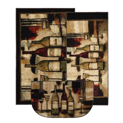 Ayers Village Wine and Glasses Area Rug Rug Size: 3 Piece Set