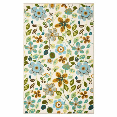 Aldridge Hand-Hooked Indoor/Outdoor Ivory/Green Area Rug Rug Size: 5 x 8