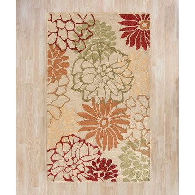 Aldford Beige/Orange Hand-Hooked Indoor/Outdoor Area Rug Rug Size: Rectangle 36 x 56
