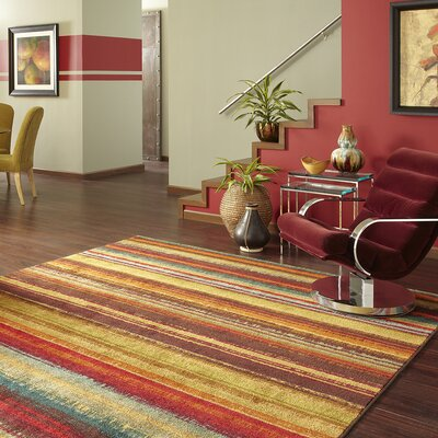 Ayers Village Brown/Yellow Area Rug Rug Size: Rectangle 5 x 8
