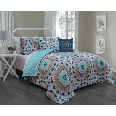Rosella 5 Piece Quilt Set Size: King, Color: Teal