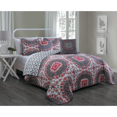 Rosella 5 Piece Quilt Set Size: Queen, Color: Red